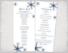 winter wedding program template snowflake showers silver