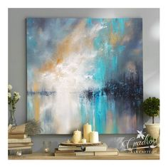 Vibrant Blue Glitter Metallic Art Painting Acrylic Original Art on Canvas by Ora Birenbaum Titled: Dazzling Blue Abstract Canvas, Canvas Wall Art, Diy Abstract Art, Modern Art Paintings, Acrylic Art, Abstract Landscape, Painting Inspiration, Art Pictures, Contemporary Art
