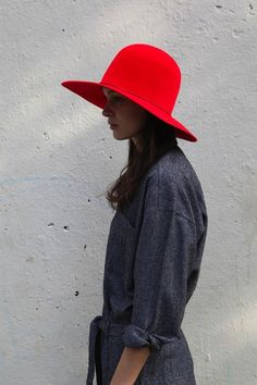 Bold hat statement in red
