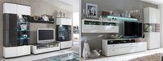 Wohnwand weiß hochglanz - modern vom Designer - hängend + TV