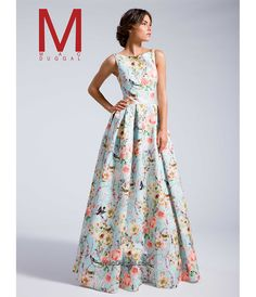 1960s New years Eve dress:  MacDuggal 25186I Sky Blue Floral Long Ball Gown 2016 Prom Dresses $458.00 AT vintagedancer.com