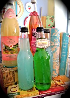 Vintage soda bottle display