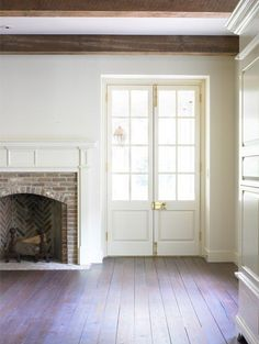 Wood Beams Interiors & Faux Wood Beams that Wow! D S Dixon Architect American Colonial with amazing wood beams and French doors. Style At Home, Style Blog, Up House, Decoration Design, Wood Beams, Cottage, Fireplace Design, Architecture Details, Victorian Architecture