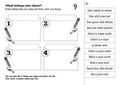 Cut and glue the 4 things you enjoy most from the list. Then draw a picture about each one.