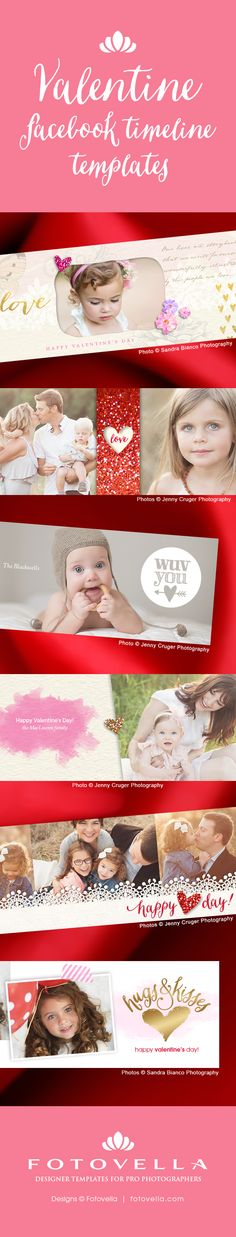 Valentine's Day Facebook timeline cover Photoshop templates for photographers by FOTOVELLA. Featured images from Sandra Bianco Photography and Jenny Cruger Photography - Info: http://fotv.co/M2eEUs