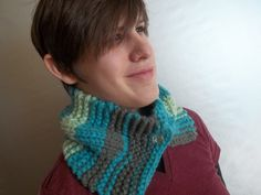 Cowl scarf crocheted grey and blue neck scarf neck warmer with attached vintage buttons