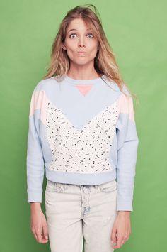 memphis milano pastel sweatshirt. 80s style. crop jumper. silk-screen print. geometric. cosmic. planets on Etsy, £38.15