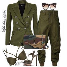 DETAILS: Blazer/Pants #Balmain  Bralet #Riverisland  Shoes #Casadei  Purse #Saintlaurent  Frames #Tomford  #Styledbyfashionkill21