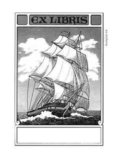 Sailing ship Pringle bookplate at Bookplate Ink bookplate