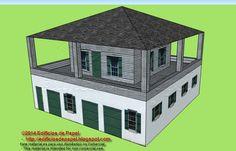Tercer modelo inspirado en la casa de estilo González-Álvarez, en Saint Agustine, Florida.    Se trata de un edificio de dos plantas con un porche superior que bordea todo el primer piso, al que se accede por una única puerta situada en una de las fachadas.