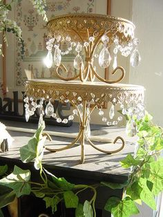 Antique golden crystal cake stands <3 this... my friend Laura with Tea and Duchess has this in Silver