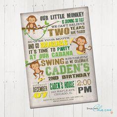 Monkey Birthday Invitation monkey invitation by StyleswithCharm