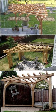 A corner pergola saves space and can be arranged anywhere in the backyard ., A corner pergola saves space and can be placed anywhere in the backyard. A corner pergola saves space and can be arranged anywhere in the backyard .