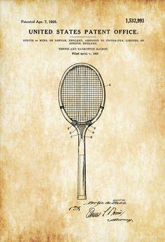 Tennis and Badminton Racket Patent - Patent Print Wall Decor Tennis Art Tennis Patent Tennis Gift Tennis Racket Blueprint (4.99 USD)