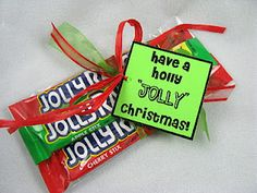 "3 Jolly Rancher Sticks in a cellophane bag with a tag that reads, ""Have a holly jolly Christmas! Great idea for the kid's friends at Christmas. Or holly jolly holiday to use for work! Christmas Goodies, All Things Christmas, Holiday Fun, Christmas Holidays, Christmas Ideas, Jolly Holiday, Holiday Ideas, Christmas Favors, Christmas Room"