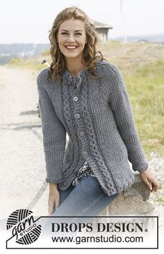 "Mist - Knitted DROPS jacket in stockinette st with cables and round yoke in ""Andes"" or ""Eskimo"". Size: S - XXXL. - Free pattern by DROPS Design Ladies Cardigan Knitting Patterns, Crochet Cardigan Pattern, Sweater Knitting Patterns, Knitting Stitches, Free Knitting, Knit Cardigan, Crochet Patterns, Laine Drops, Drops Design"