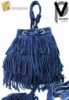 23124bb62ee55 Vera Pelle Beuteltasche 20cm Leder Handtasche Fransen Blau Braun Schwarz  Taupe