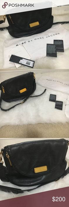 Marc Jacobs leather cross body Authentic Marc Jacobs black leather cross body. In excellent condition, only worn a few times.  Few small scratches on the gold hard ware.  Will come with original receipt, dust bag and tags. Marc Jacobs Bags Crossbody Bags