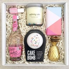 Teak & Twine Birthday Gift Box! This gift includes Belvoir Rose Lemonade, Essie nail polish, Little Market Birthday Cake candle, Cake Bomb bath bomb, Willa's shortbread cookies and a pineapple shot glass!