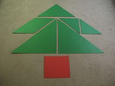 Christmas Tangrams-tree (There are a bunch on this post. They cut out big shapes and changed them throughout the Christmas season.)