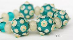 Use zoom to take a closer look :o)  Set lampwork beads from my studio.  The set consists of:  5 pieces of beads -------------------- appx 1,8 cm x