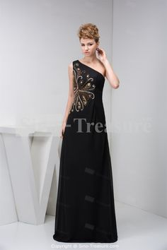 Black One Shoulder Sleeveless Floor-Length Chiffon Evening Dress Wholesale Price: US$189.99