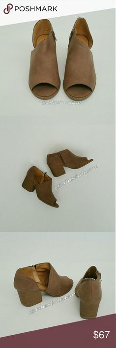 """Open Toe Side Cut Booties - Nutmeg @blushonme at Poshmark   Open Toe Side Cut Booties - Nutmeg   ALSO AVAILABLE IN BLACK!  Faux leather. Side zipper.   True to size   Heel - 2.5""""  ● PRICE IS FIRM ● Shoes Ankle Boots & Booties"""