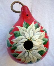 gourd with Christmas poinsetta