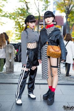 japanese fashion Harajuku Girls in Monochrome Streetwear Styles w/ Open the Door, One Spo, Kinji, YRU, Bubbles amp; Street Style Trends, Asian Street Style, Tokyo Street Style, Looks Street Style, Japanese Street Fashion, Tokyo Style, Japan Street, Tokyo Fashion, Korea Fashion