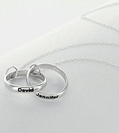 Personalized Couples Interlocking Rings Necklace - girlytwirly.com