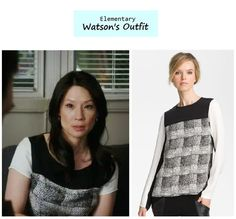 """Lucy Liu as Joan Watson in Elementary - """"Dead Man's Switch"""" (Ep. 120). Watson is wearing a short sleeve version of the top above. Watson's Top:10 Crosby Derek Lam Duo Toned Blouse $425here  FarFetch. MoreElementaryStylehere. More outfits from Ep. 120here. Source: CBS /Nordstrom(image)"""