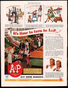 1944 A&P Supermarkets Grocery Store Photo Fruits Vegetable Shopping Cart AD