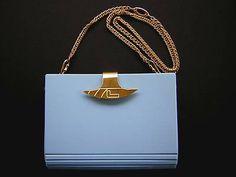 Vintage Lancel Paris ~ 1930s Art Deco ~ Blue Vinyl Handbag