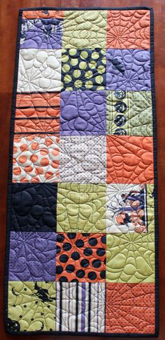 Quilted Halloween Table Runner by JennyMsQuilts on Etsy, $30.00