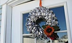 Add a fun, unique Autumn wreath to your home's decor with patterned paper, Glue Dots and a Styrofoam wreath!