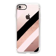 Modern black blush pink rose gold handdrawn stripes pattern by Girly... found on Polyvore featuring accessories, tech accessories, iphone case, iphone cover case, pink iphone case, iphone cases, apple iphone case and rose gold iphone case