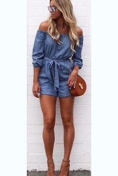 f89c0b2f8d5d Pure Color Off Shoulder 3 4 Sleeves Short Jumpsuit · Denim Dress Outfit  SummerRomper ...