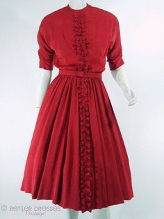 Vintage 1940s 40s Red Rayon Day Dress With Ruffle Front - Small by Better Dresses Vintage