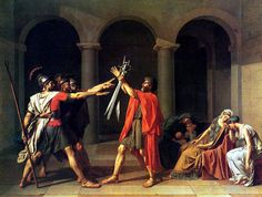 Artist of the Day: Jaques-Louis David. The Oath of the Horatii. This painting epitomizes the neoclassical style of the 1800s, and shows the need for wartime virtue, not virtues of compassion and love. I apologize for my rather long absence, I was actually on tour with my choir in Washington, D.C. and have now returned home. Went to the national gallery and will be gushing on it forever.