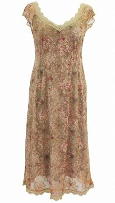 Amazon.com: Michal Negrin Gorgeous Short Sleeves Knee-Length Beige Lace Dress Fashioned with Vintage Inspired Floral Pattern, Scalloped Edge Lace Trim, Fitted Bustline with Paneled Elements; Handmade in Israel: Clothing