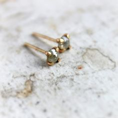 Rosecut Diamond Earrings  Natural Diamond Stud by moiraklime, $138.00