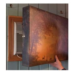 Hide the AC in the winter months with this beautiful decorative indoor air conditioner cover that will stop the cold drafts and is a work of art! Air Conditioner Cover Indoor, Diy Air Conditioner, Window Ac Unit, Window Ac Cover, Hide Ac Units, Ac Unit Cover, Air Conditioning Units, Lolo, Diy Kitchen