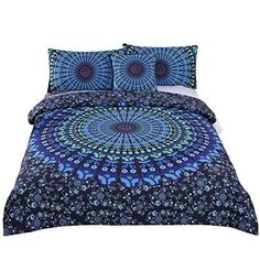 Sleepwish 4 Pcs Bohemian Moonlight Bedding Set Bohemia Blue Nice Gift Plain Twill Home Textiles Duvet Cover Set Queen Size, http://www.amazon.com/dp/B01FK1V3EU/ref=cm_sw_r_pi_awdm_x_iPgaybC5K57J5