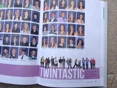 one year our yearbook had a pic of all the twins sitting on the staircase by the…