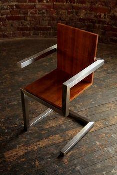 #WELDING FABRICATION Metal And Wood Chairs, Industrial Metal Chairs, Industrial Design Furniture, Modern Industrial, Wood And Metal, Furniture Design, Industrial Decorating, Industrial Shelving, Industrial Lighting