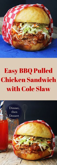 Sweet and Tangy Pulled BBQ Chicken Sandwich topped with Cole Slaw. A perfect mea. Sweet and Tangy Pulled BBQ Chicken Sandwich topped with Cole Slaw. A perfect meal for your of July BBQ! Pulled Chicken Sandwiches, Bbq Chicken Sandwich, Chicken Bbq Sliders, Bbq Sandwich, Slow Cooker Chicken, Food For Thought, Comida Tex Mex, Fingerfood Party, Paninis