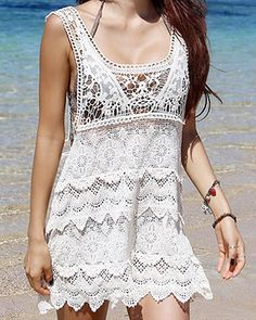 $11.00 Sexy Hollow Out Design Sleeveless Backless Scoop Neck Lace Tank Top For Women