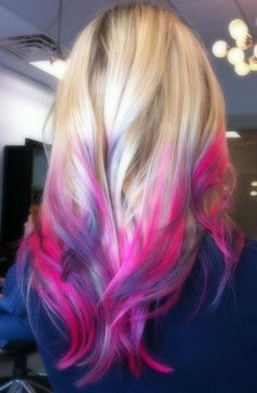 Cotton Candy Ombre - love your hair, hair chalk, temporary dye (multicolor blonde, pink and purple hair dipped, long layered hairstyle) Pelo Color Azul, Pink Purple Hair, Purple Tips, Purple Ombre, Blonde Pink, Purple Streaks, Purple Highlights, Magenta, Pink Blue