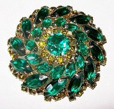 Juliana Brooch Pin D&E Emerald Green by BrightgemsTreasures, $44.50