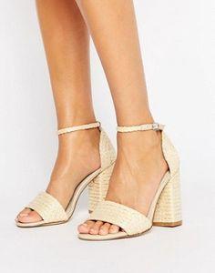 Glamorous - Sandali con tacco a blocchi di colore naturale